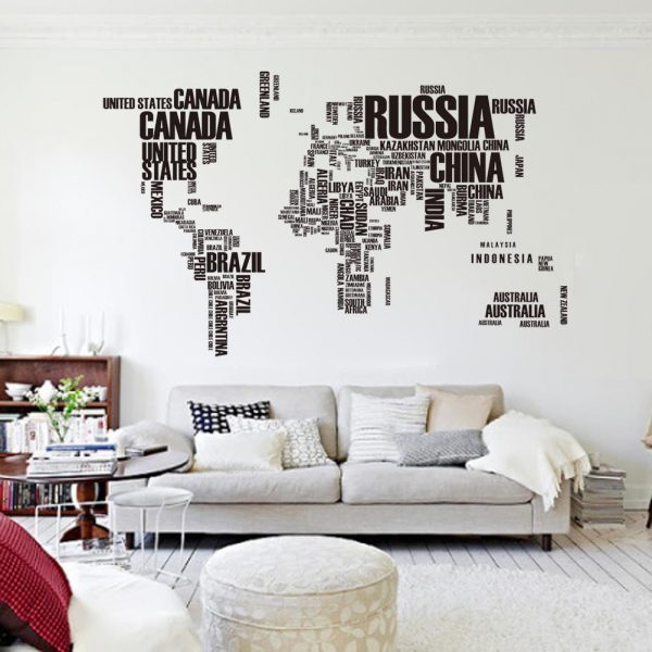 Muursticker Wereldkaart 190x116 cm
