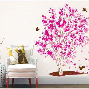 Muursticker Boom met Roze bladeren