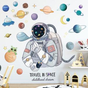 Muursticker Astronaut met Planeten