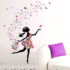 Muursticker Dansend Meisje met Vlinders