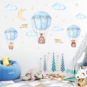 Muursticker Dieren in Luchtballon