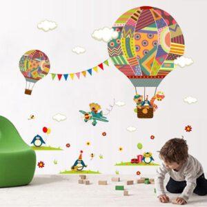 Muursticker Dieren in Luchtballon en Vliegtuig