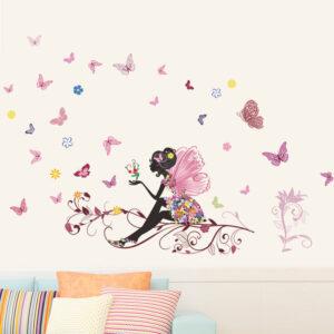 Muursticker Fee met Vlinders