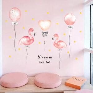 Muursticker Flamingo met Ballonnen