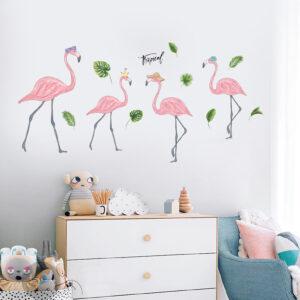 Muursticker Flamingo's