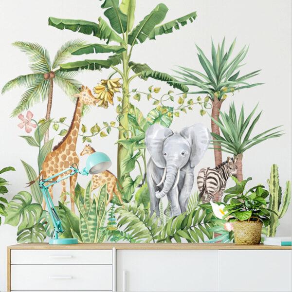 Muursticker Jungle met Dieren