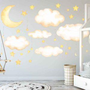 Muursticker Maan Wolken Sterren