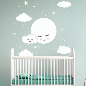 Muursticker Maan en Wolken
