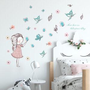 Muursticker Meisje Vlinders
