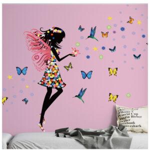 Muursticker Meisje met Vlinders