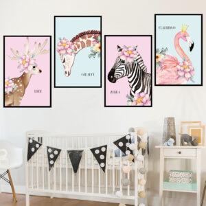 Muursticker Portret Hert Giraffe Zebra Flamingo
