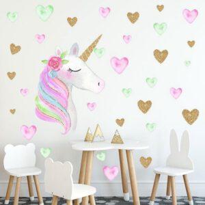 Muursticker Unicorn Eenhoorn Hartjes Roze Goud
