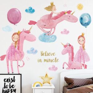 Muursticker Unicorn met Meisje