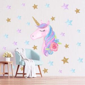 Muursticker Unicorn met Sterren
