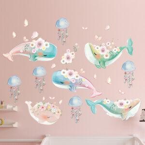 Muursticker Walvissen met Bloemen